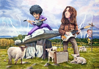 Phil lynott and Rory Gallagher play music in a feild