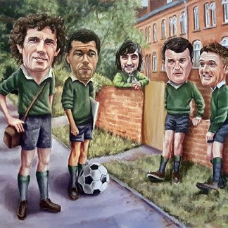 four soccer player arrange a game in the street
