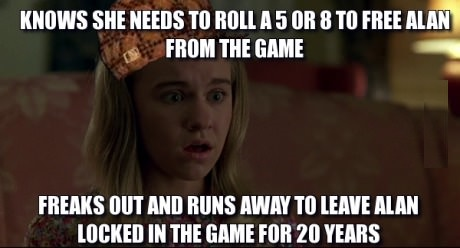 So I re-watched Jumanji and couldn't help but think that Sarah is a pretty big scumbag