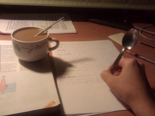 Doing homework at 3 a.m.