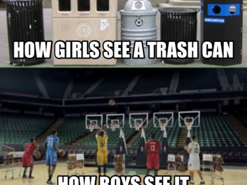 How girls see a trash can..