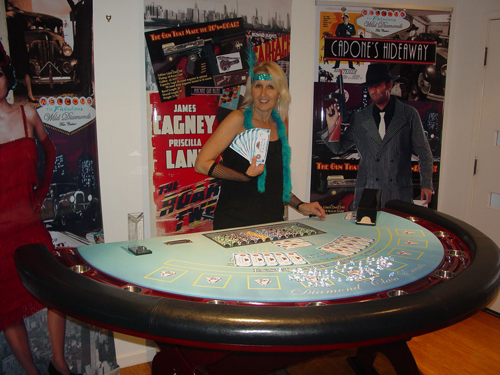 1920s casino party Blackjack table and money for Great Gatsby theme casino party.