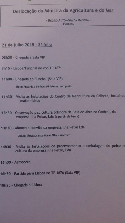 Programa da visita da ministra Assunção Cristas.