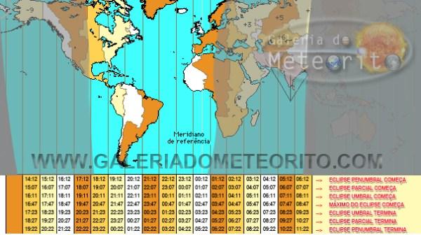 Horário de início e término de todas as fases do Eclipse Lunar Total de 27 de setembro de 2015 Fonte: Galeria do Meteorito