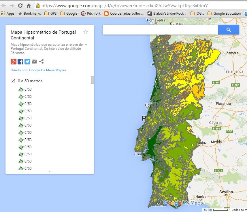 Mapa Hipsometrico De Portugal Continental Agora No Google Maps