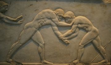 Jovens lutando, M‡rmore encontrado no cemitŽrio de Dipylon, em Atenas,do sŽculo V a.C Young men wrestling, from a statue base found in the Dipylon Cemetery, Athens, c.510 BC (marble) (see also 60008-9 and 60011), Greek, (6th century BC) / National Archaeological Museum, Athens, Greece CrŽdito: Museu Nacional Arqueol—gico, Atenas Obs. Recuperar imagem em alta - ESPECIAL A a Z ed. 01 Antiguidade