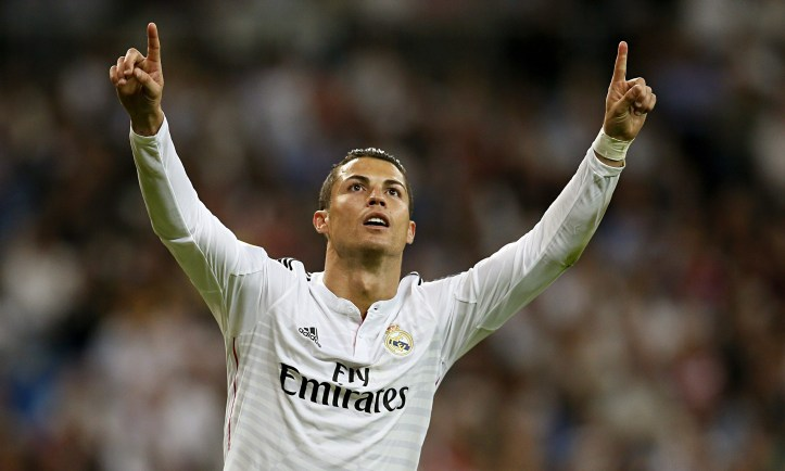 Cristiano Ronaldo celebrates against Elche while scoring