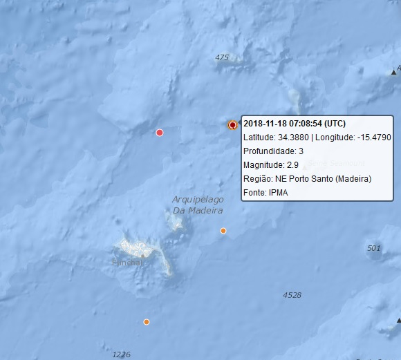 Sismo de 2.9 registado esta manhã ao largo do Porto Santo