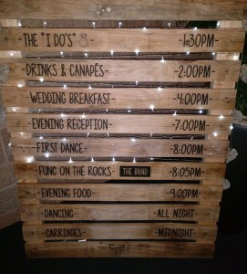 Rustic Wedding Itinerary Board