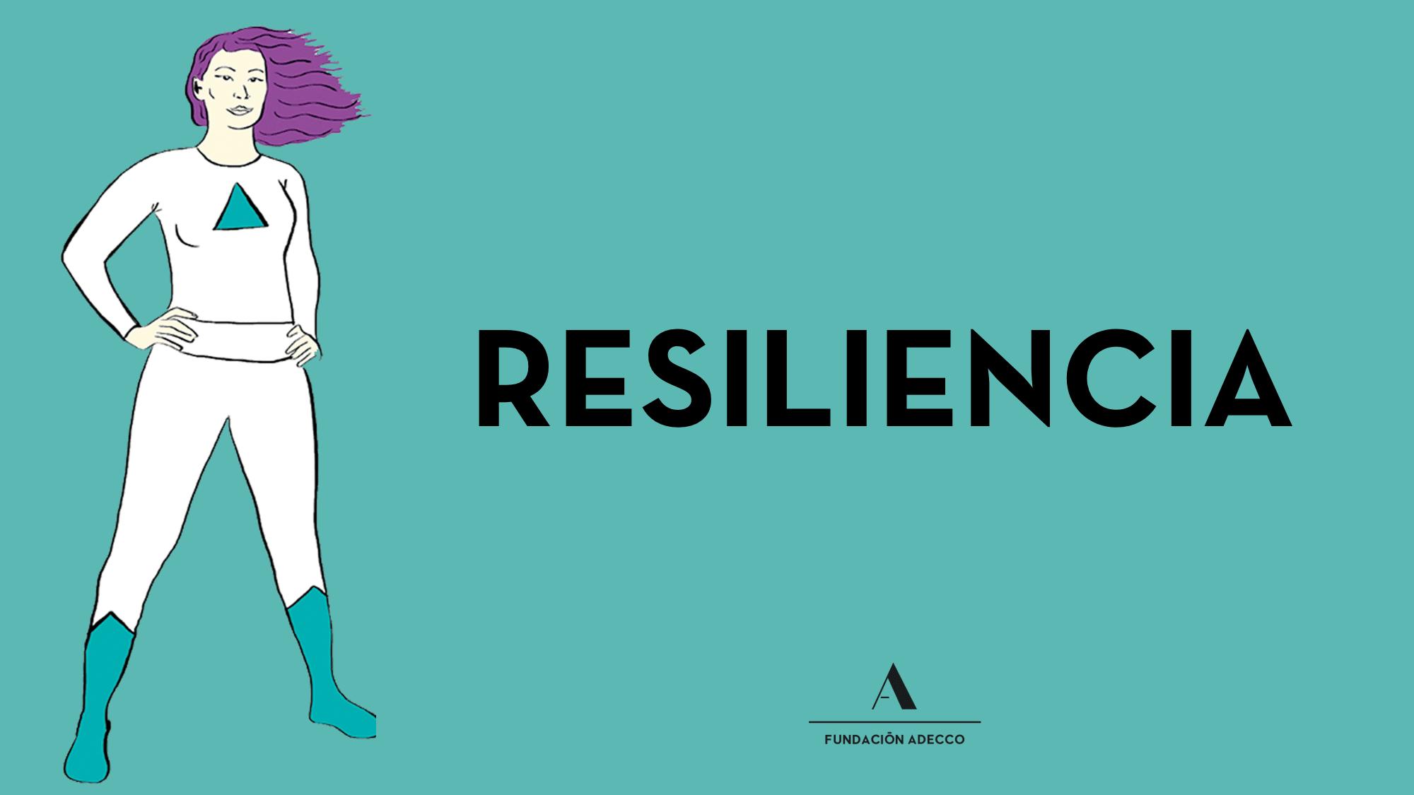 """Dibujo de una mujer """"superheroína"""" junto a la palabra """"resiliencia"""""""