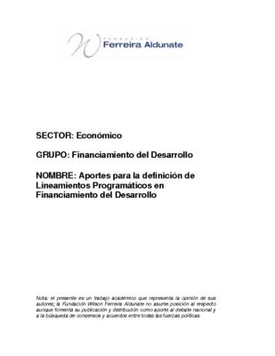 Aportes para la definición de Lineamientos Programáticos en Financiamiento
