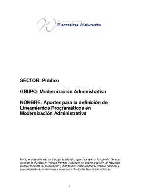 Aportes para la definición de Lineamientos Programáticos en Modernización Administrativa