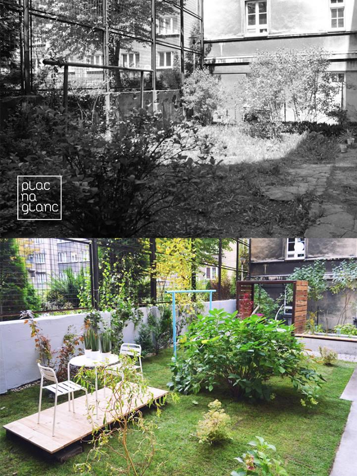 ogród społeczny plac na glanc Lompy - widok przed i po