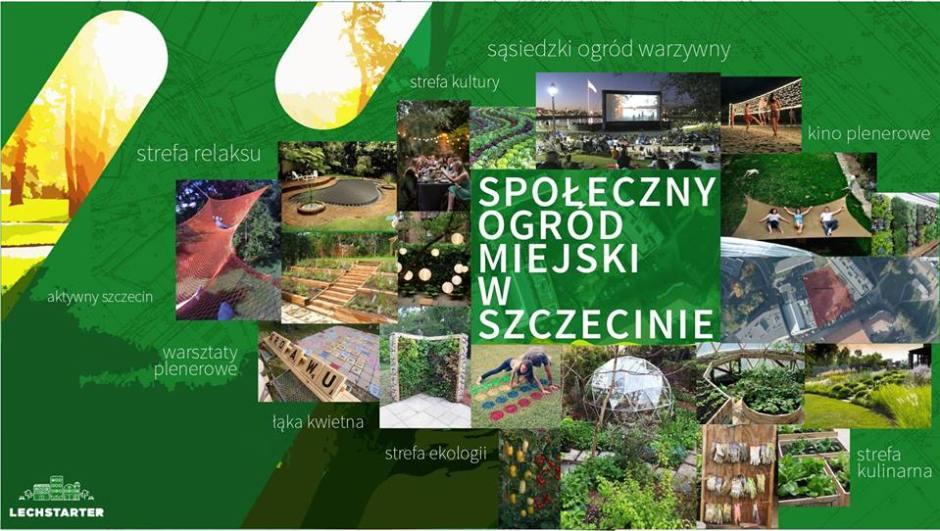 plakat informacyjny Lechstarter & szczeciński ogród społeczny