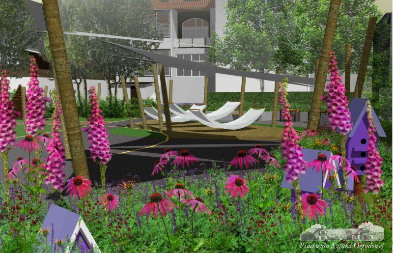 wizualizacja - rabata i hamaki - ogród społeczny w Sopocie