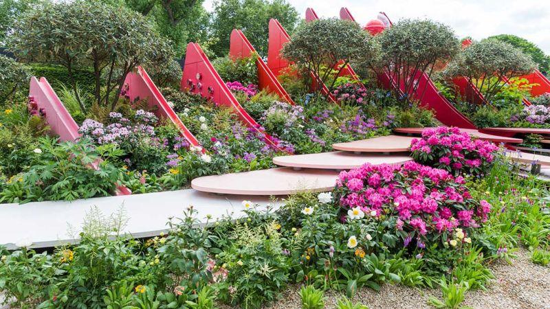 ogród w kolorach różu i czerwieni