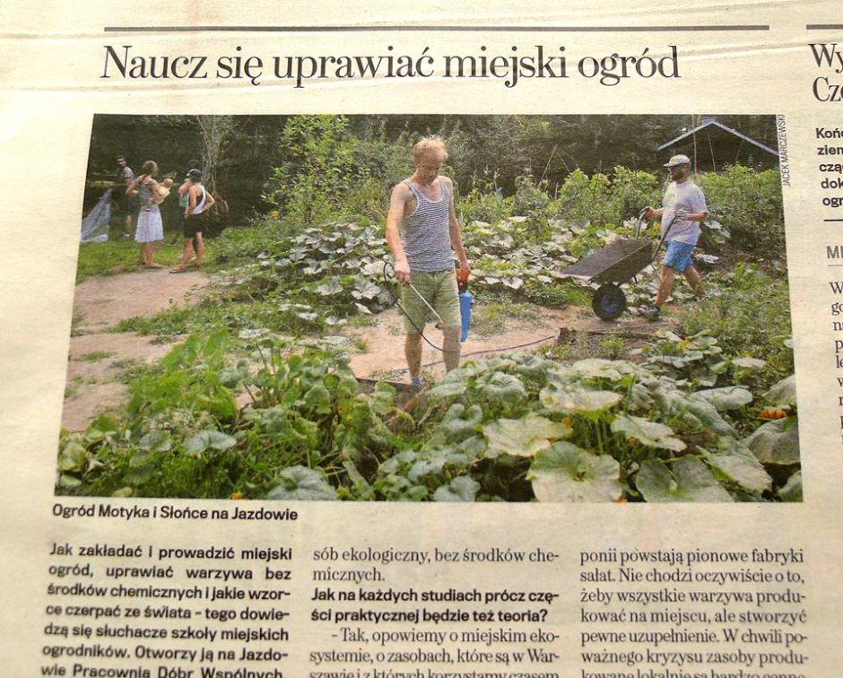 Gazeta Wyborcza Warszawa - artykuł o ogrodzie społecznym