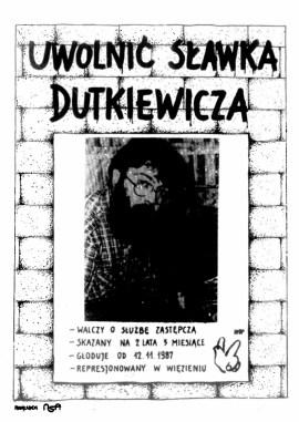 Sławek Dutkiewicz plakat UWOLNIC SLAWKA DUTKIEWICZA