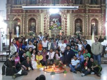 Group picture around the Mayan altar that served as a centerpiece for Mass the last evening at the center.