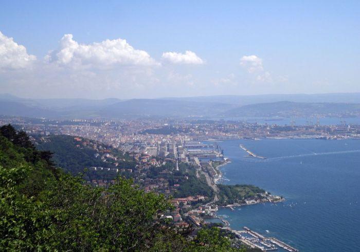 View of Trieste from Santuario di Monte Grisa. Trieste, Italy