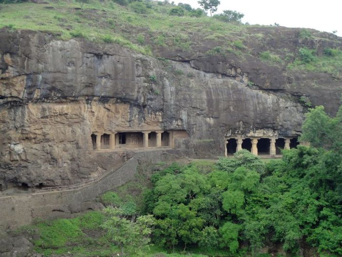 Tucked away in the hills. The Buddhist caves, Ellora, Maharashtra, India