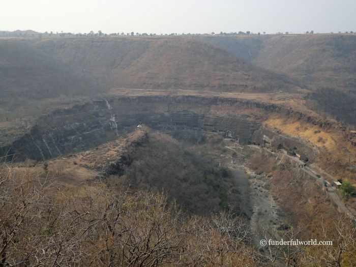 A panoramic view of the Ajanta Caves. India.