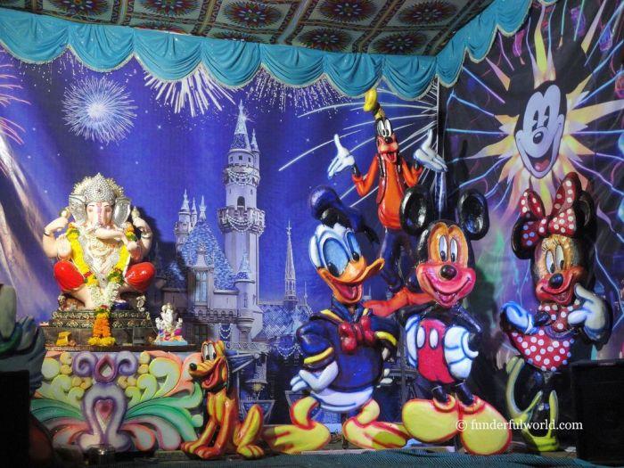 All the way from Disneyland! Ganesh Chaturthi, Pune, Maharashtra, India.