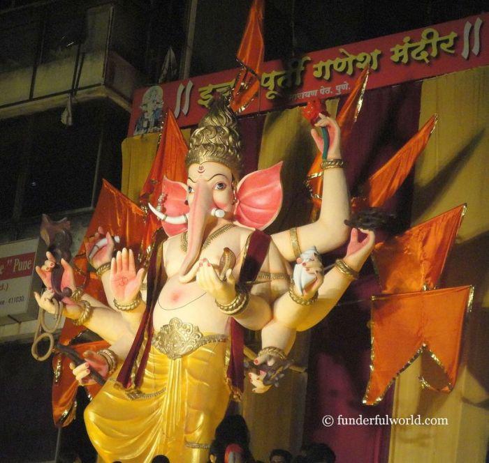 Powerful deity. Ganesh Chaturthi, Pune, Maharashtra, India.