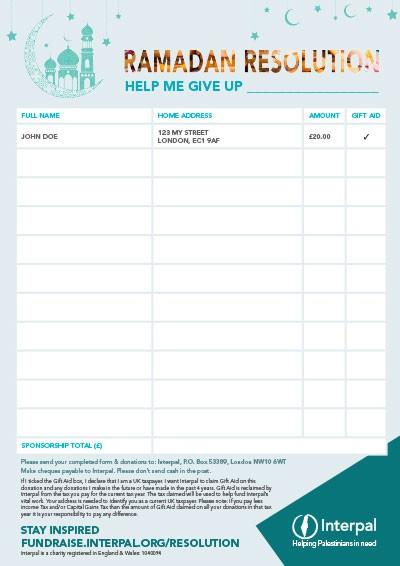 Interpal Ramadan Resolution Challenge Sponsorship Form