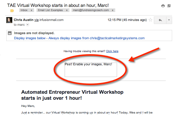 Enable images to see this great email example!