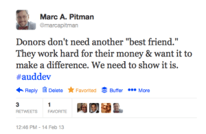 """Image of a twitter chat tweet """"Donor's are not looking for another best friend!"""""""