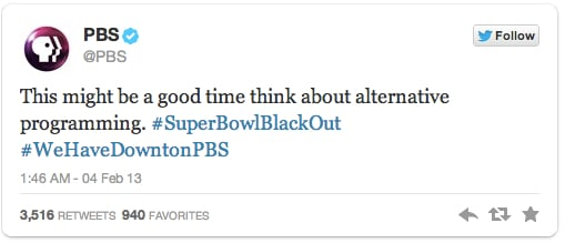 Image of PBS' tweet proving PBS was a nonprofit that didn't sleep through the Great Super Bowl Blackout
