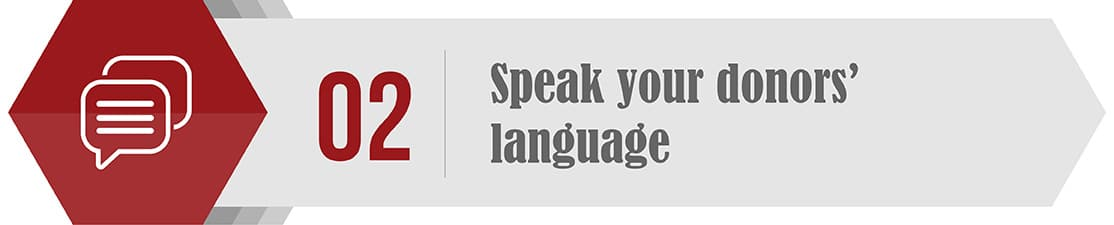 Your year end and year-round fundraising should should speak your donors' language.
