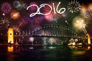New year celebration with colorful fireworks and numbers 2016 over the Sydney Harbour Bridge