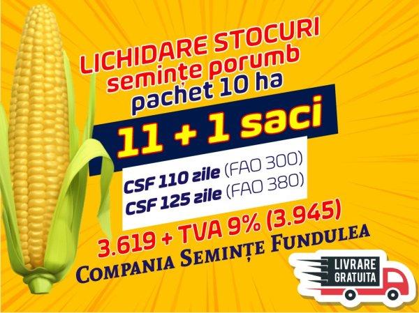 pachet 10 ha seminte porumb CSF 110 zile, CSF 125 zile. seminte porumb, compania seminte fundulea