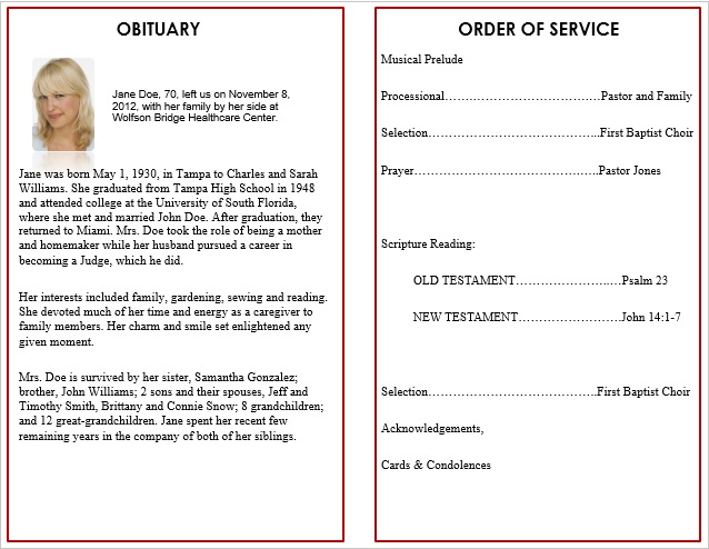Word Funeral Template lifecycleprints online store make a – How to Make a Funeral Program in Word