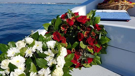 Wreaths for sea burial