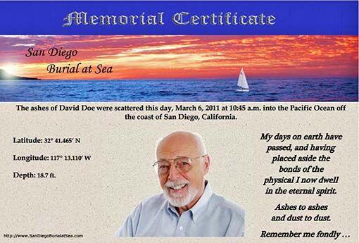Memorial Certificate for Ash Scattering at Sea - Burial at Sea