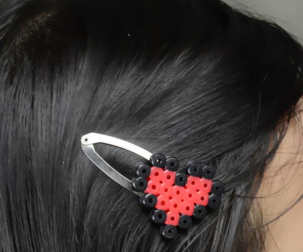 Perler Bead Heart Hair Clips Fun Family Crafts