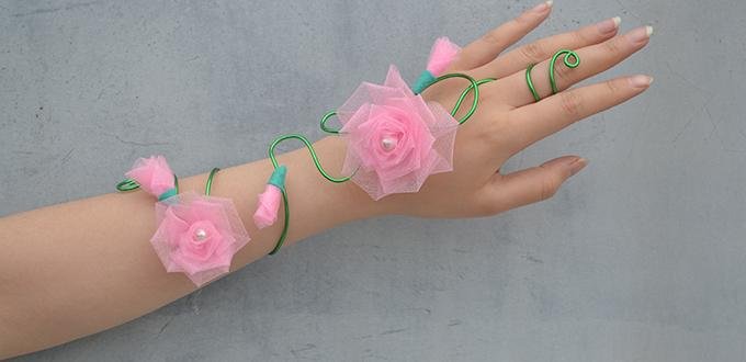 Wire Wrapped Flower Wristband Bracelet Fun Family Crafts