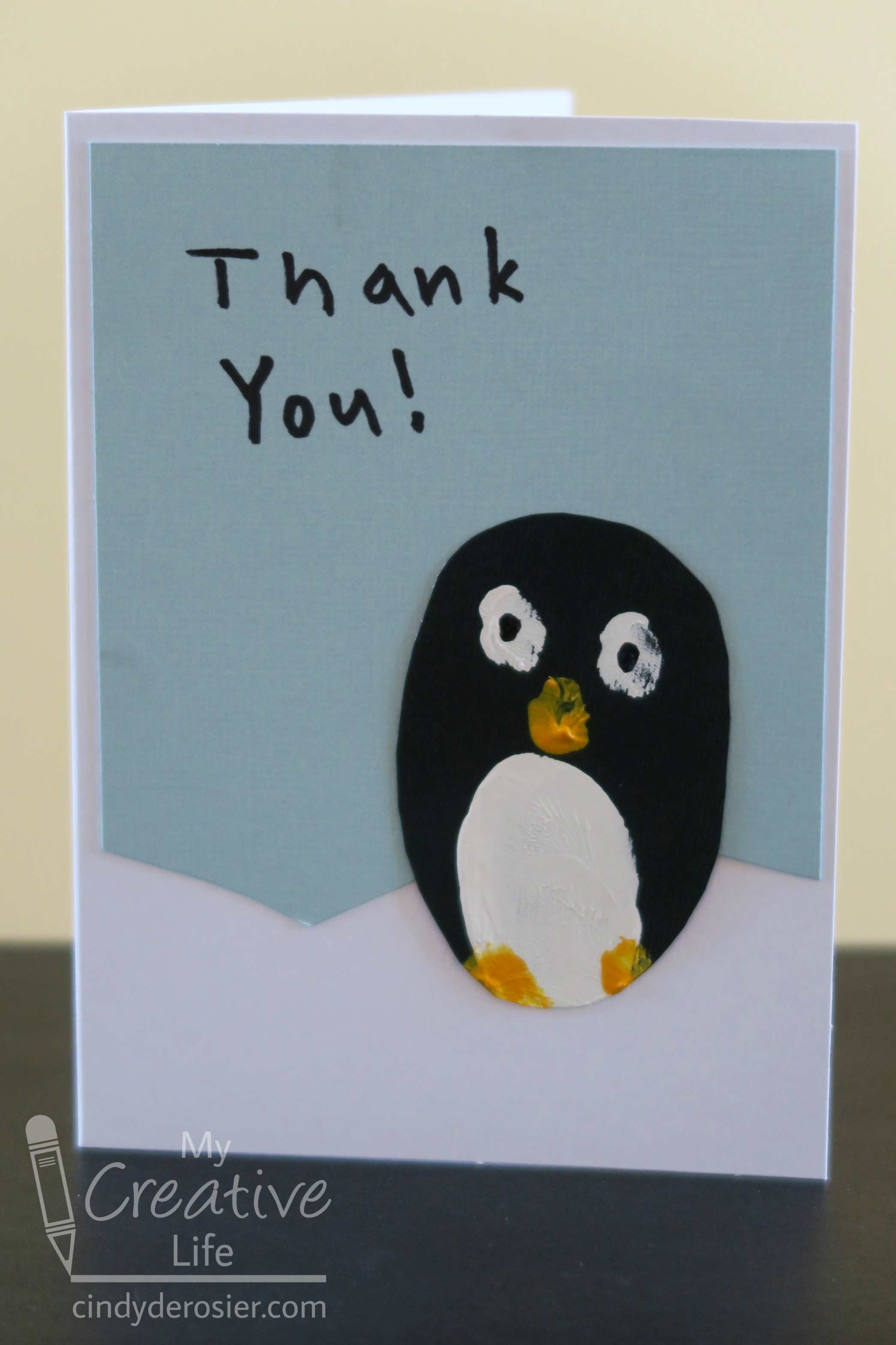 Fingerprint Penguin Thank You Cards Fun Family Crafts