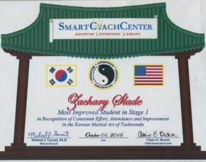 Smart Coach Center Martial Arts Columbia, MD Effective Proof: Most Improved Student Award