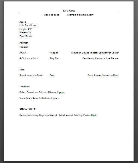 Beginners Acting Resume Special Skills. Resume Acting Examples