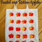 Anleitung Kartoffelstempeln – Herbstlicher Beutel mit Retro Äpfeln
