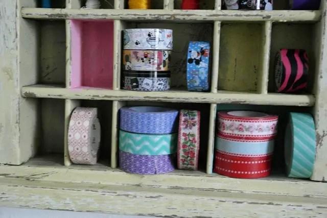 Regal für Garn, Masking Tape und Stempel selber machen aus Setzkasten