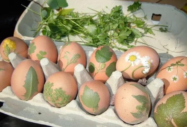 Ostereier mit Blüten und Blumen färben für Linden