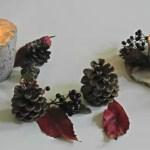 Herbstlichter aus Beton und Naturmaterialien