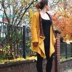 Genäht – Senfgelbe Strickjacke für kalte Tage