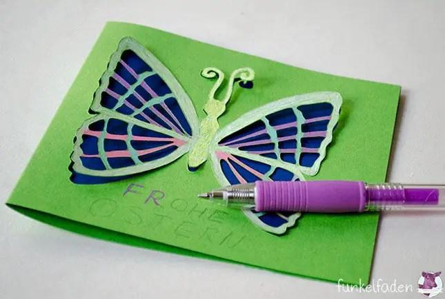 Freebie - Karte mit 3D-Schmetterling