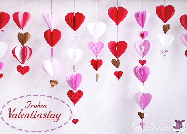 Valentinstags DIY - Girlande mit Herzen Hochzeit